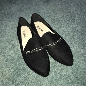 JustFab Black chain detail loafers